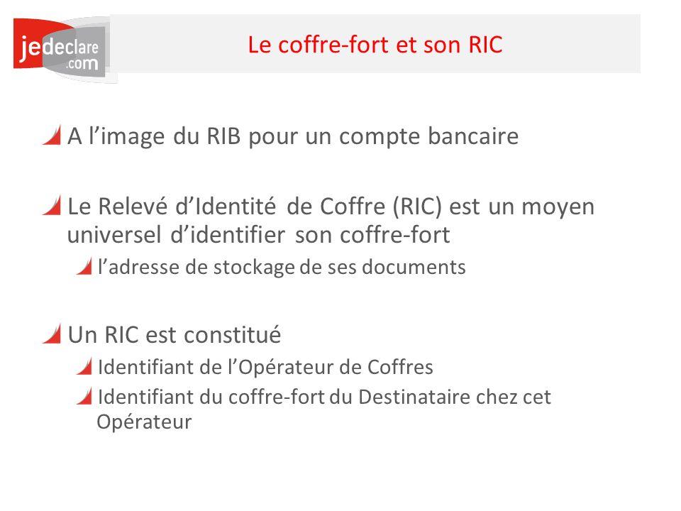 31 Le coffre-fort et son RIC A limage du RIB pour un compte bancaire Le Relevé dIdentité de Coffre (RIC) est un moyen universel didentifier son coffre