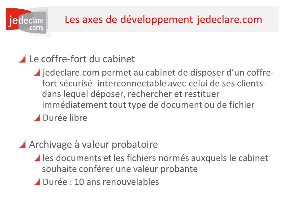 33 Les axes de développement jedeclare.com Le coffre-fort du cabinet jedeclare.com permet au cabinet de disposer dun coffre- fort sécurisé -interconne