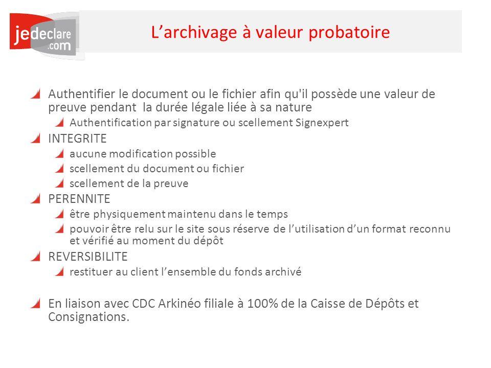34 Larchivage à valeur probatoire Authentifier le document ou le fichier afin qu'il possède une valeur de preuve pendant la durée légale liée à sa nat