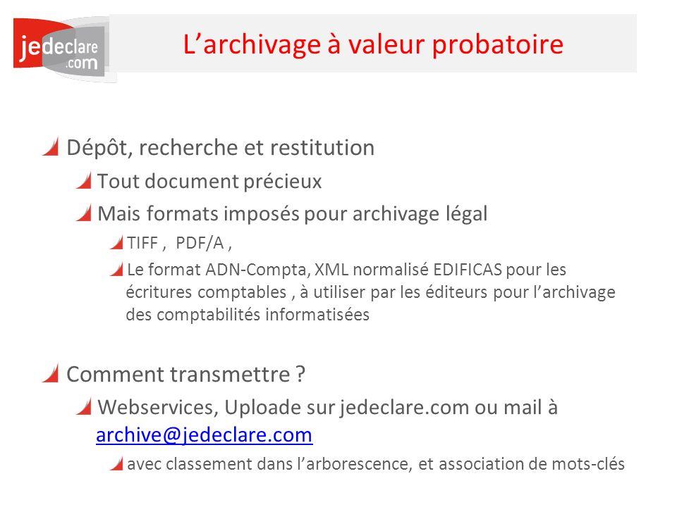 35 Larchivage à valeur probatoire Dépôt, recherche et restitution Tout document précieux Mais formats imposés pour archivage légal TIFF, PDF/A, Le for