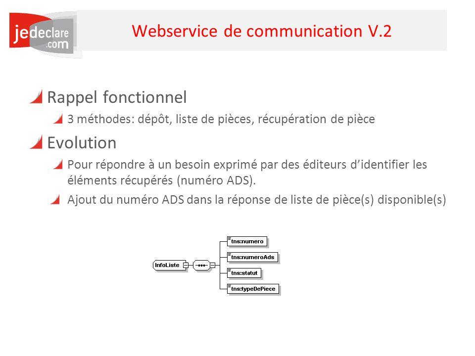 4 Webservice de communication V.2 Rappel fonctionnel 3 méthodes: dépôt, liste de pièces, récupération de pièce Evolution Pour répondre à un besoin exp