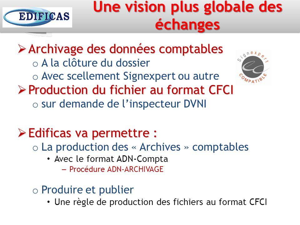 Une vision plus globale des échanges Archivage des données comptables Archivage des données comptables o A la clôture du dossier o Avec scellement Sig