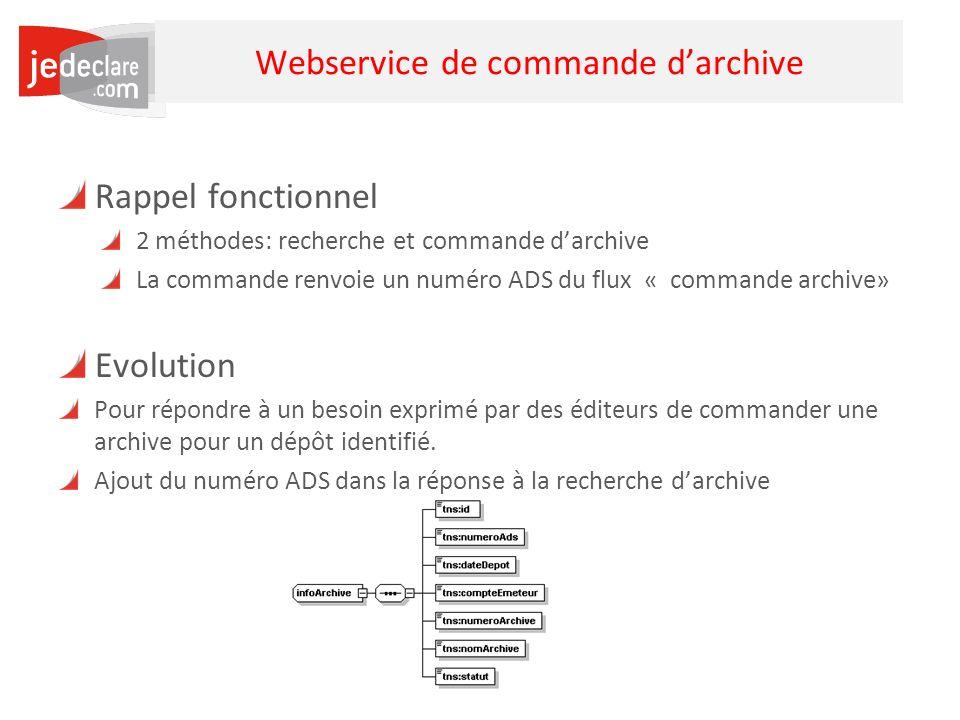 5 Webservice de commande darchive Rappel fonctionnel 2 méthodes: recherche et commande darchive La commande renvoie un numéro ADS du flux « commande a