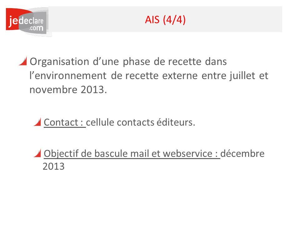 9 AIS (4/4) Organisation dune phase de recette dans lenvironnement de recette externe entre juillet et novembre 2013. Contact : cellule contacts édite