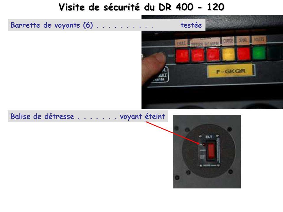 Barrette de voyants (6)..........testée Visite de sécurité du DR 400 - 120 Balise de détresse....... voyant éteint