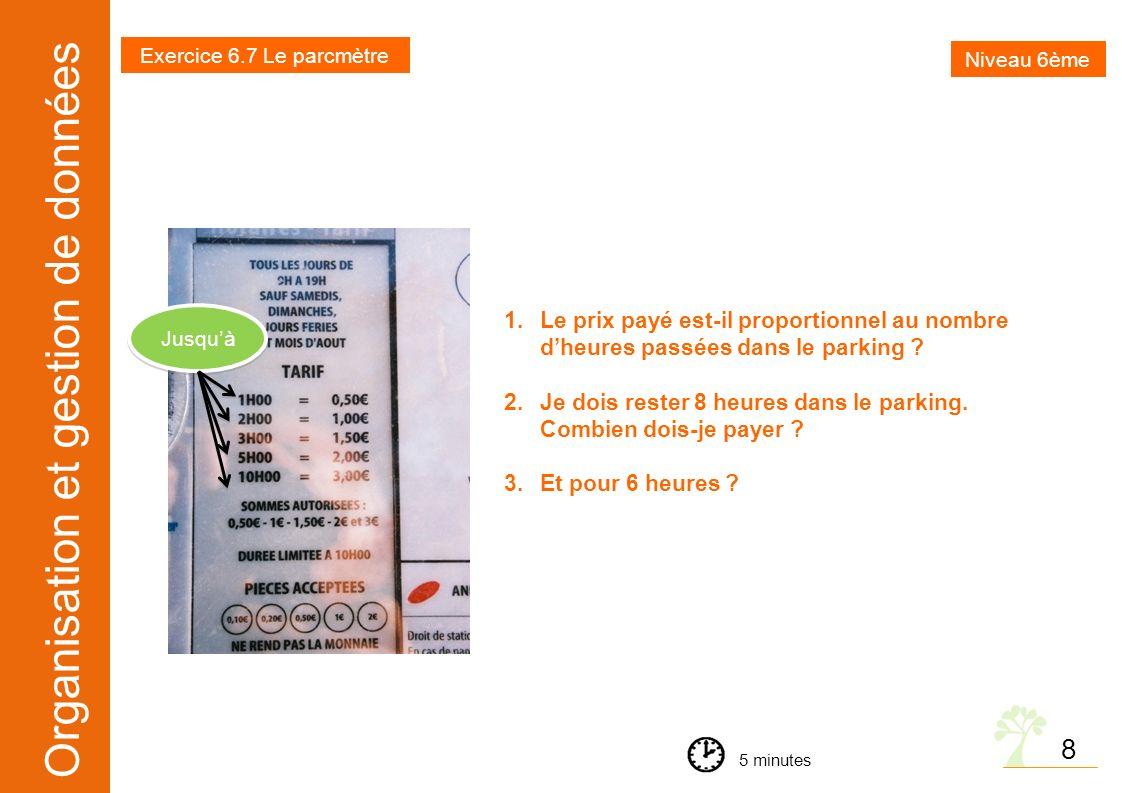 Organisation et gestion de données 8 1.Le prix payé est-il proportionnel au nombre dheures passées dans le parking ? 2.Je dois rester 8 heures dans le