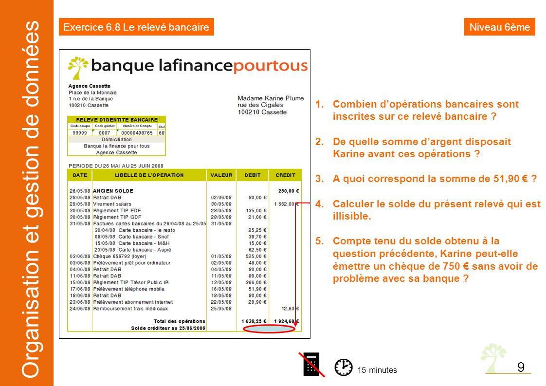 Organisation et gestion de données 9 1.Combien dopérations bancaires sont inscrites sur ce relevé bancaire ? 2.De quelle somme dargent disposait Karin