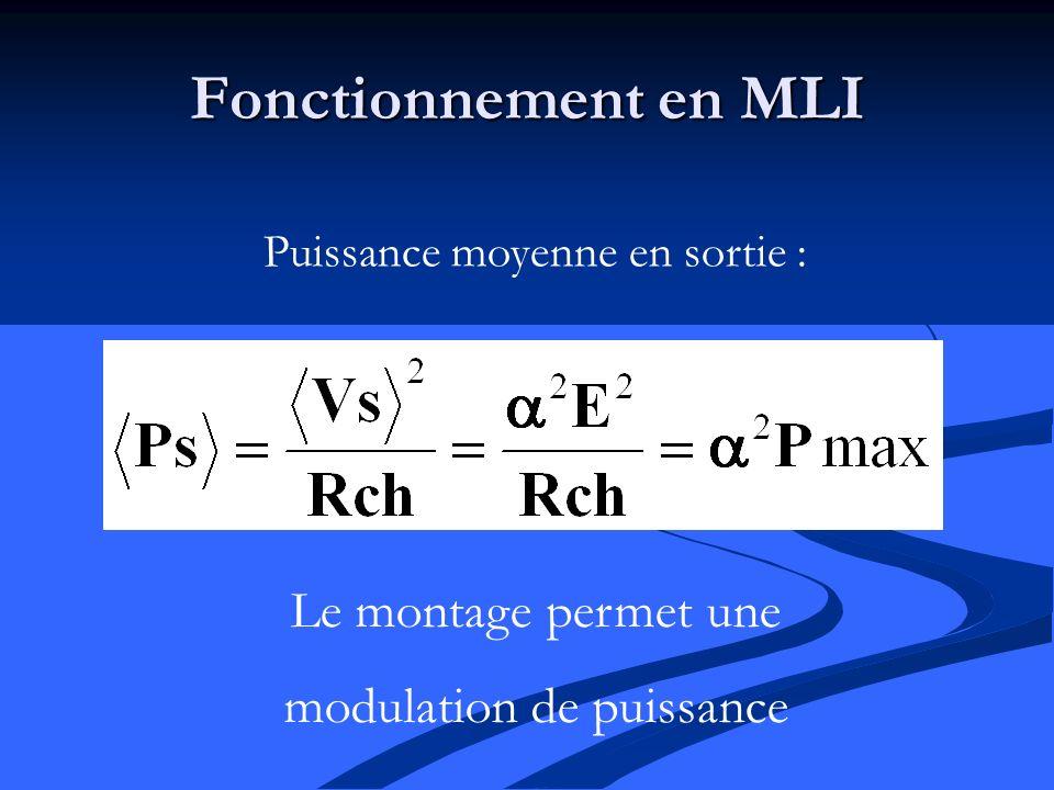 Fonctionnement en MLI Puissance moyenne en sortie : Le montage permet une modulation de puissance