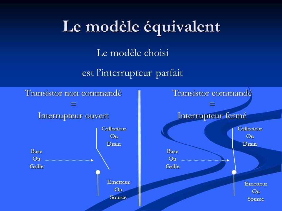 Le modèle équivalent Transistor non commandé = Interrupteur ouvert Le modèle choisi est linterrupteur parfait Transistor commandé = Interrupteur fermé CollecteurOuDrain EmetteurOuSource BaseOuGrille CollecteurOuDrain BaseOuGrille EmetteurOuSource