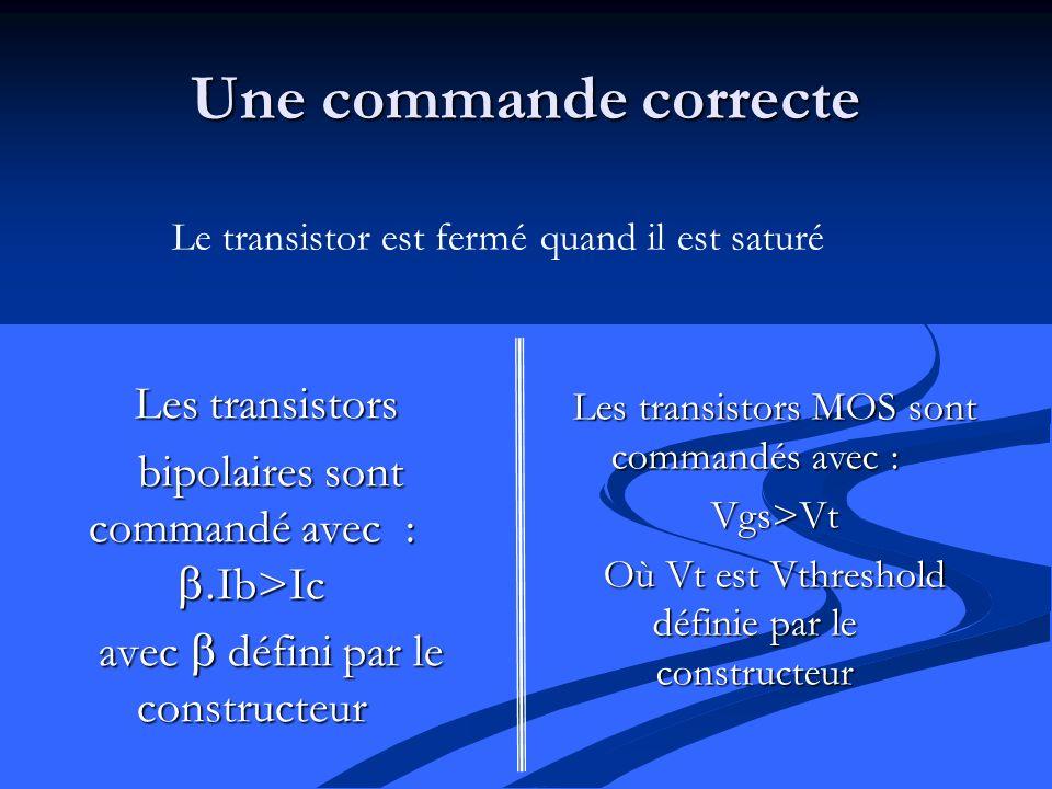 Une commande correcte Les transistors bipolaires sont commandé avec : Ib>Ic avec défini par le constructeur Les transistors MOS sont commandés avec : Vgs>Vt Où Vt est Vthreshold définie par le constructeur Le transistor est fermé quand il est saturé