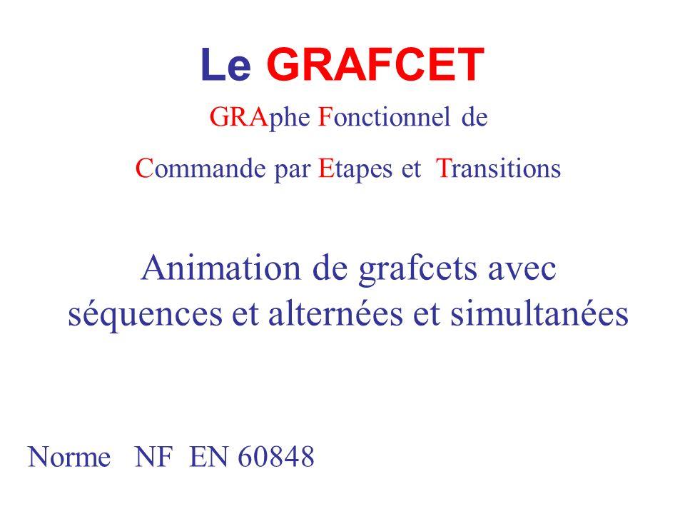 Le GRAFCET GRAphe Fonctionnel de Commande par Etapes et Transitions Norme NF EN 60848 Animation de grafcets avec séquences et alternées et simultanées
