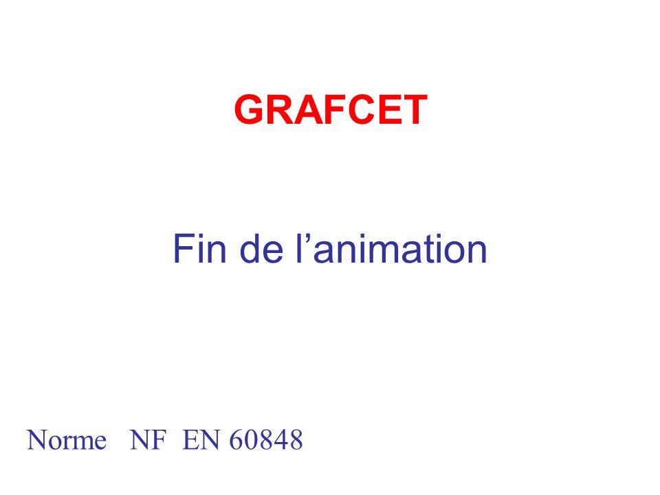 GRAFCET Norme NF EN 60848 Fin de lanimation