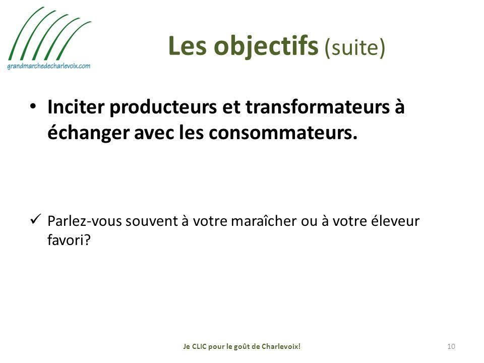 Les objectifs (suite) Inciter producteurs et transformateurs à échanger avec les consommateurs.