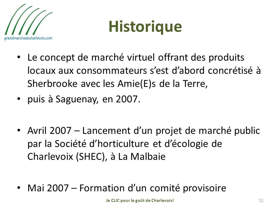 Historique Le concept de marché virtuel offrant des produits locaux aux consommateurs sest dabord concrétisé à Sherbrooke avec les Amie(E)s de la Terre, puis à Saguenay, en 2007.