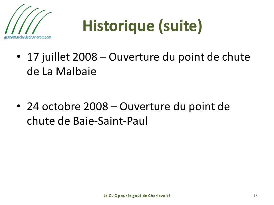 Historique (suite) 17 juillet 2008 – Ouverture du point de chute de La Malbaie 24 octobre 2008 – Ouverture du point de chute de Baie-Saint-Paul Je CLIC pour le goût de Charlevoix!15