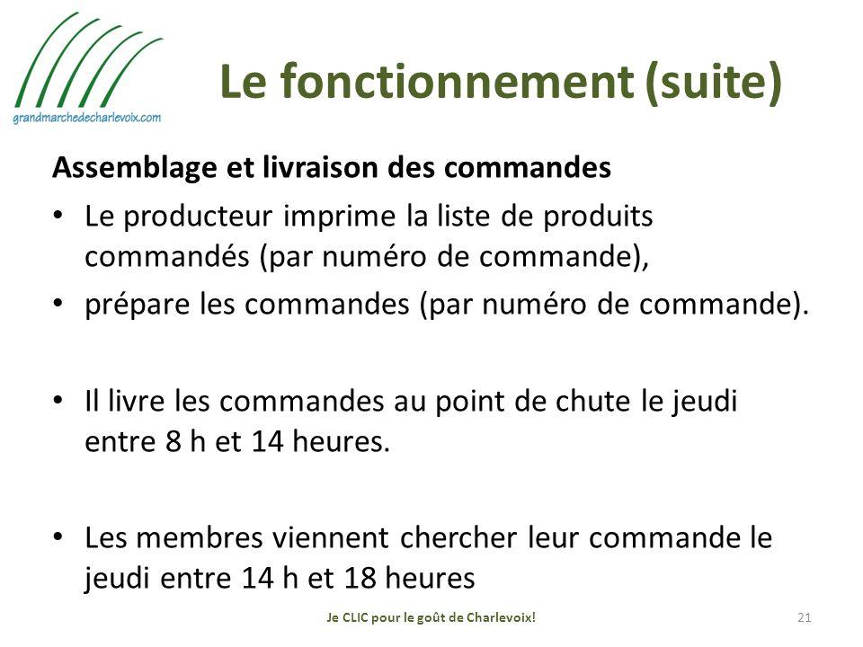 Le fonctionnement (suite) Assemblage et livraison des commandes Le producteur imprime la liste de produits commandés (par numéro de commande), prépare les commandes (par numéro de commande).