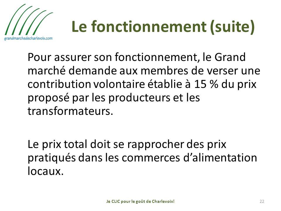 Le fonctionnement (suite) Pour assurer son fonctionnement, le Grand marché demande aux membres de verser une contribution volontaire établie à 15 % du prix proposé par les producteurs et les transformateurs.