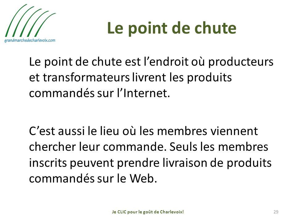 Le point de chute Le point de chute est lendroit où producteurs et transformateurs livrent les produits commandés sur lInternet.