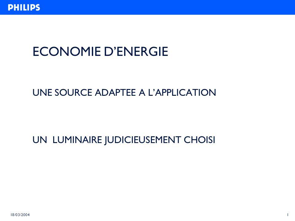 1 18/03/2004 ECONOMIE DENERGIE UNE SOURCE ADAPTEE A LAPPLICATION UN LUMINAIRE JUDICIEUSEMENT CHOISI
