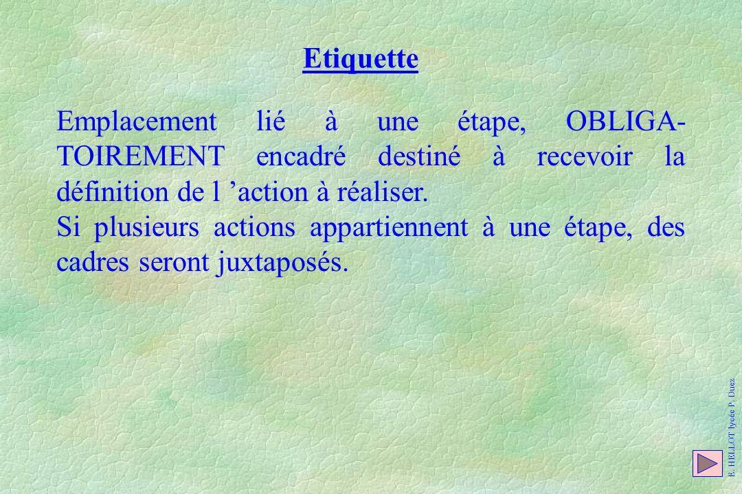 Etiquette Emplacement lié à une étape, OBLIGA- TOIREMENT encadré destiné à recevoir la définition de l action à réaliser. Si plusieurs actions apparti