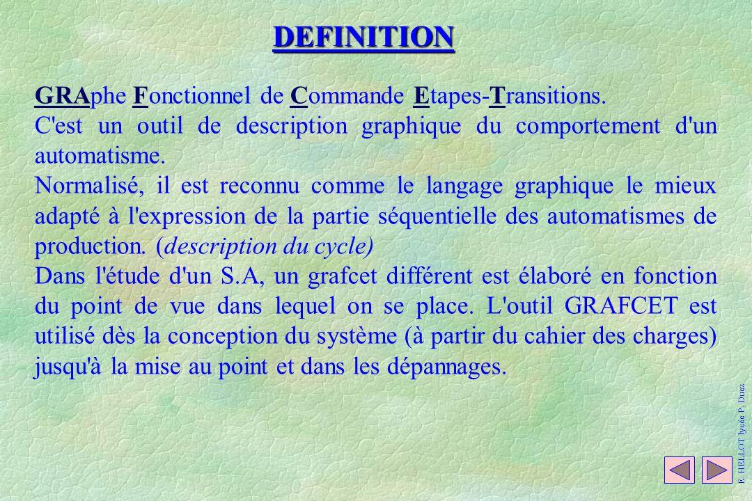 GRAphe Fonctionnel de Commande Etapes-Transitions. C'est un outil de description graphique du comportement d'un automatisme. Normalisé, il est reconnu