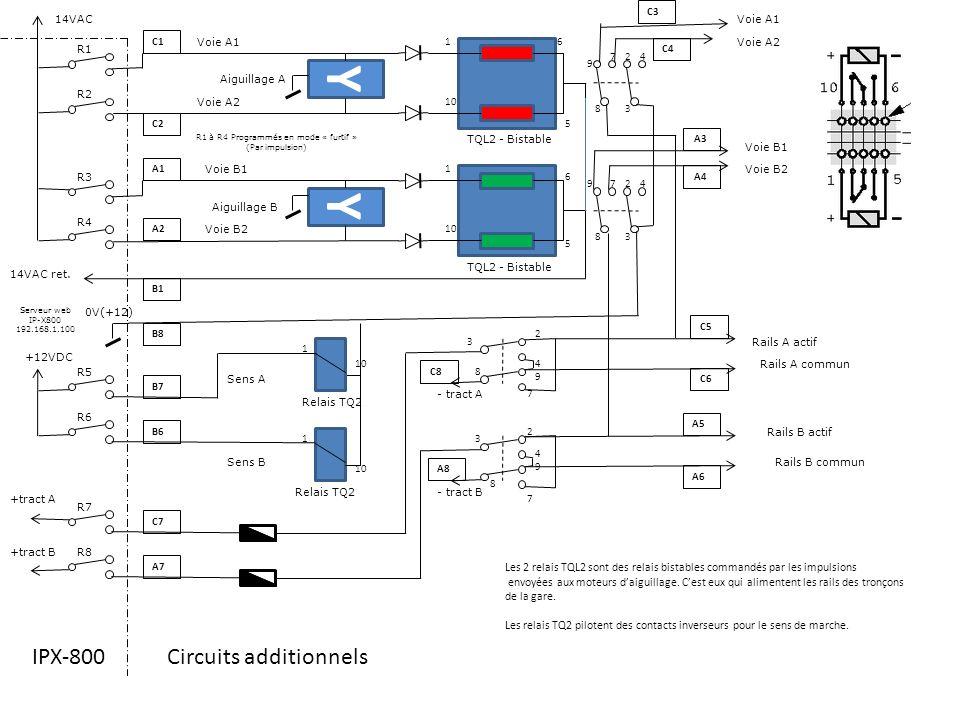 R1 R2 R3 R4 R6 R5 R7 R8 Serveur web IP-X800 192.168.1.100 Aiguillage A Aiguillage B Y Y 14VAC TQL2 - Bistable Sens A Sens B +12VDC +tract A +tract B -