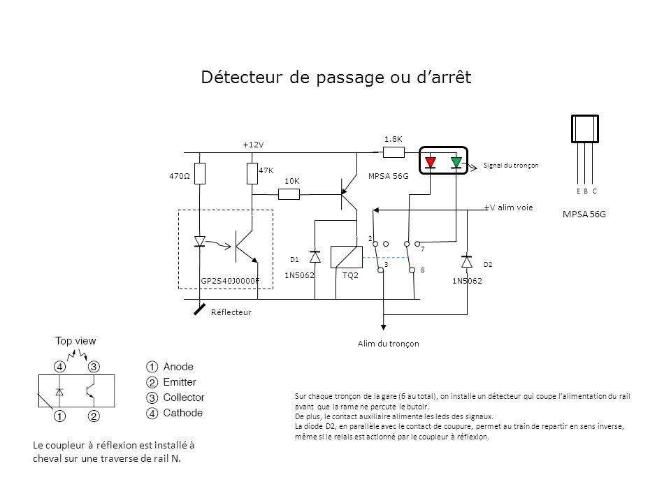 GP2S40J0000F +12V +V alim voie Alim du tronçon Détecteur de passage ou darrêt 470Ω 47K 10K MPSA 56G TQ2 1N5062 Réflecteur 1.8K 2 3 7 8 EBC Le coupleur