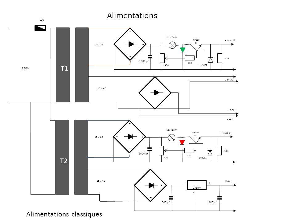 Alimentations classiques ~ ~ - + T2 ~ ~ - + 470 1000 µf 15 V AC T1 150 4.7k 1N5062 TIP120 D 12V /21W ~ ~ - + 470 1000 µf 15 V AC T2 150 4.7k 1N5062 TI