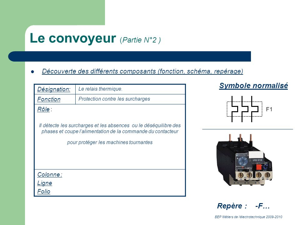 BEP Métiers de lélectrotechnique 2009-2010 Le convoyeur (Partie N°2 ) Découverte des différents composants (fonction, schéma, repérage) Désignation: Le relais thermique.