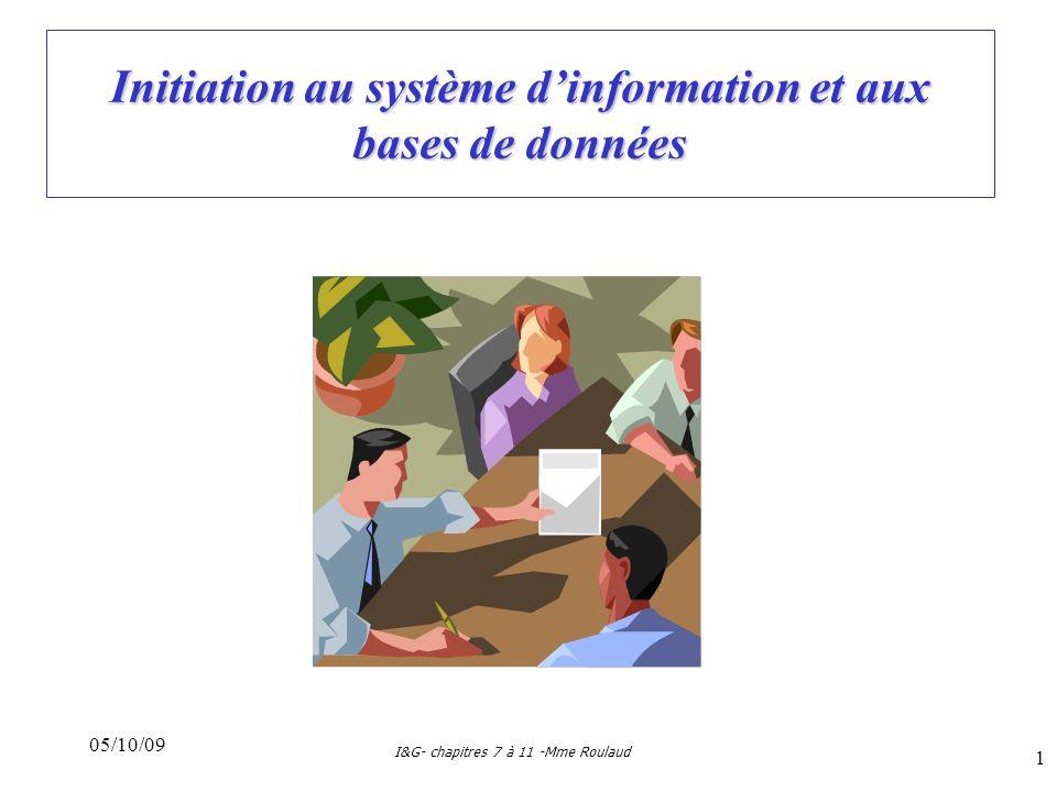 05/10/09 I&G- chapitres 7 à 11 -Mme Roulaud 1 Initiation au système dinformation et aux bases de données