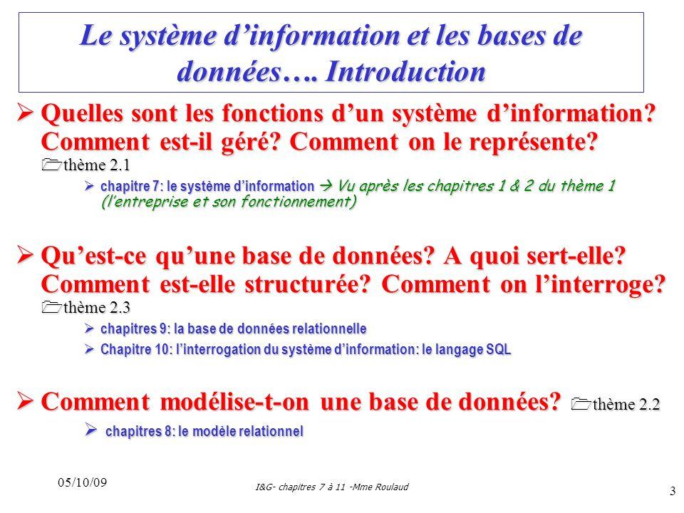 05/10/09 I&G- chapitres 7 à 11 -Mme Roulaud 3 Le système dinformation et les bases de données….