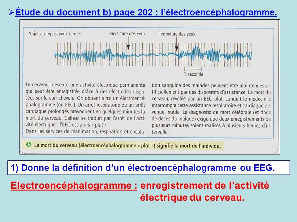 Étude du document b) page 202 : lélectroencéphalogramme. 1) Donne la définition dun électroencéphalogramme ou EEG. Electroencéphalogramme : enregistre