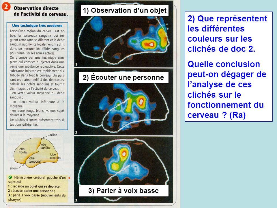 1) Observation dun objet 2) Écouter une personne 3) Parler à voix basse 2) Que représentent les différentes couleurs sur les clichés de doc 2. Quelle