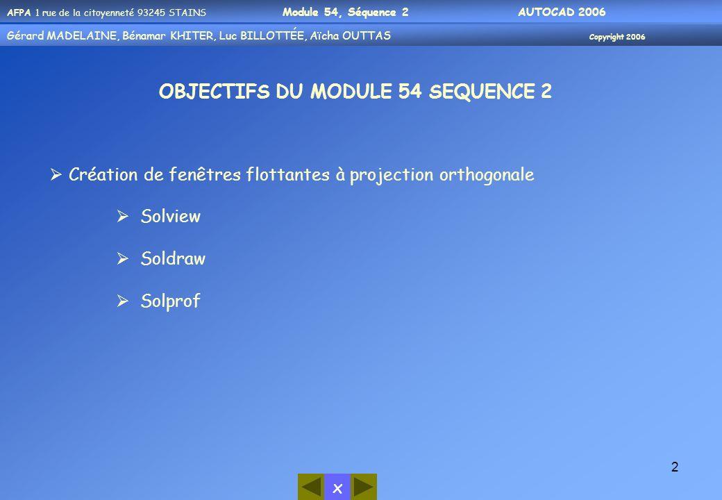 Gérard MADELAINE, Bénamar KHITER, Aicha OUUTAS Copyright 2006 Gérard MADELAINE, Bénamar KHITER, Luc BILLOTTÉE, Aïcha OUTTAS Copyright 2006 x AFPA 1 rue de la citoyenneté 93245 STAINS Module 54, Séquence 2 AUTOCAD 2006 3 Création de fenêtres flottantes à projection orthogonale Nous présentons ci-après 3 commandes qui permettent de créer des présentations à partir dobjets 3D-Solides et qui apportent certaines facilités dans la gestion des calques spécifiques à chaque vue, dans laffichage des types de lignes pour les arêtes cachées et dans la mise en place des hachures sur les coupes.