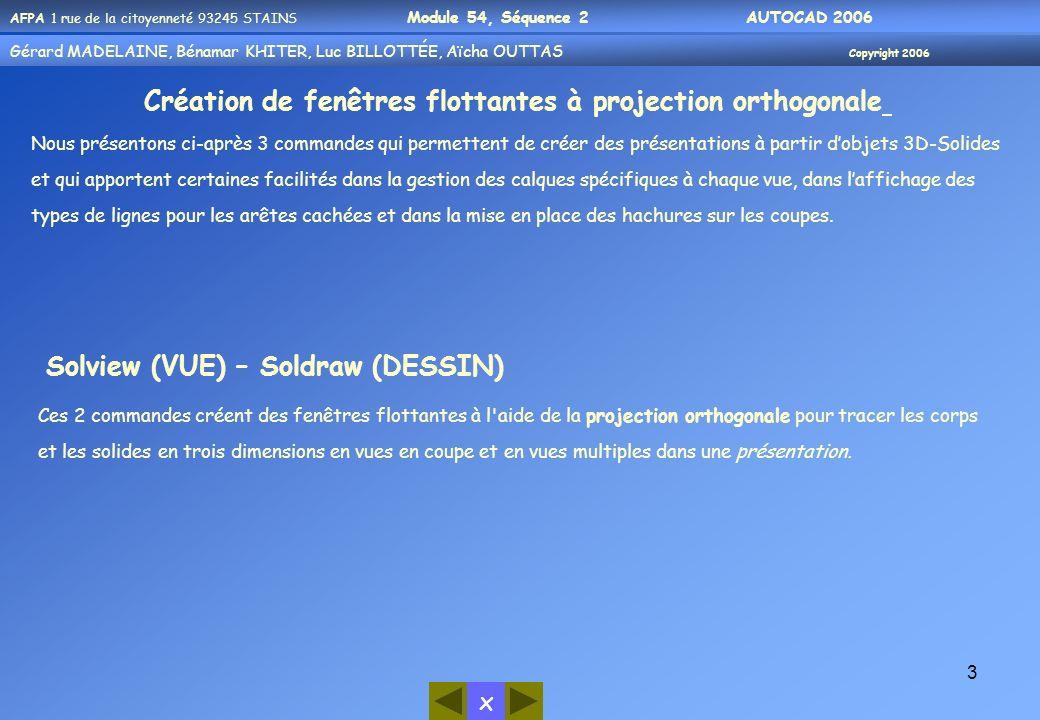 Gérard MADELAINE, Bénamar KHITER, Aicha OUUTAS Copyright 2006 Gérard MADELAINE, Bénamar KHITER, Luc BILLOTTÉE, Aïcha OUTTAS Copyright 2006 x AFPA 1 rue de la citoyenneté 93245 STAINS Module 54, Séquence 2 AUTOCAD 2006 34 La disposition des vues dans chaque quadrant est défini comme dans le tableau ci-dessous : Fenêtres techniques normalisées QuadrantVue Supérieur gaucheDessus (plan XY du SCU courant) Supérieur droitVue isométrique Sud-Est (SCU Général) Inférieur gaucheAvant (plan XZ du SCU courant) Inférieur droitCôté droit (plan YZ du SCU courant) L option 3 permet de définir une matrice des fenêtres disposées le long des axes X et Y.