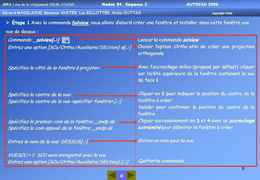 Gérard MADELAINE, Bénamar KHITER, Aicha OUUTAS Copyright 2006 Gérard MADELAINE, Bénamar KHITER, Luc BILLOTTÉE, Aïcha OUTTAS Copyright 2006 x AFPA 1 rue de la citoyenneté 93245 STAINS Module 54, Séquence 2 AUTOCAD 2006 20 Étape 3 Avec la commande Soldraw, nous allons maintenant créer les projections dans les calques prévus : Commande: _soldraw[ ] Sélectionnez les fenêtres à dessiner: Choix des objets: 1 trouvé(s) Choix des objets: [ ] Un solide sélectionné.