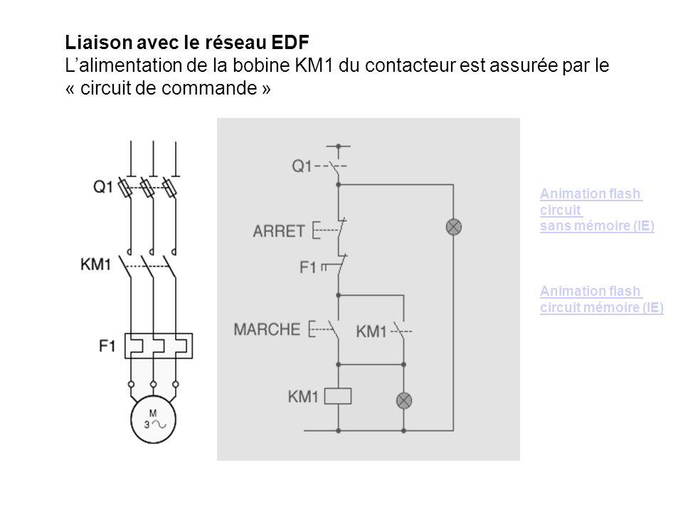 Liaison avec le réseau EDF Lalimentation de la bobine KM1 du contacteur est assurée par le « circuit de commande » Animation flash circuit sans mémoir
