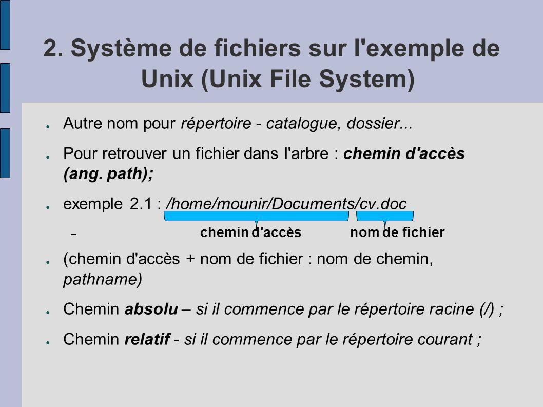 2. Système de fichiers sur l'exemple de Unix (Unix File System) Autre nom pour répertoire - catalogue, dossier... Pour retrouver un fichier dans l'arb