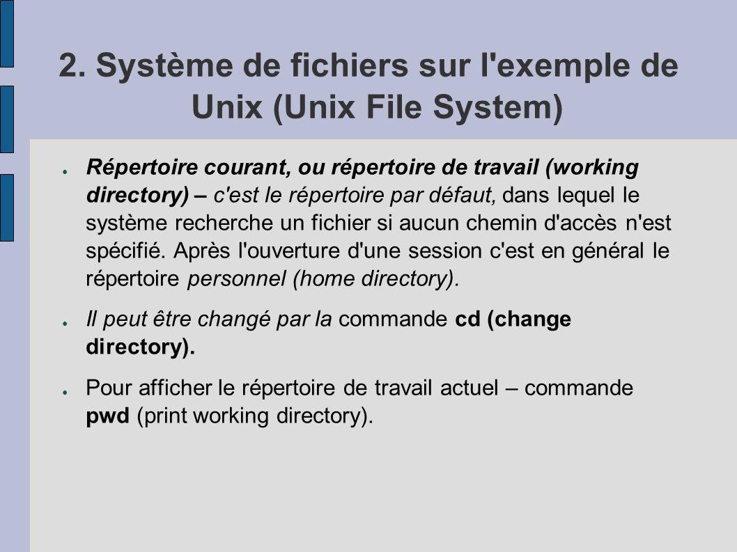 2. Système de fichiers sur l'exemple de Unix (Unix File System) Répertoire courant, ou répertoire de travail (working directory) – c'est le répertoire