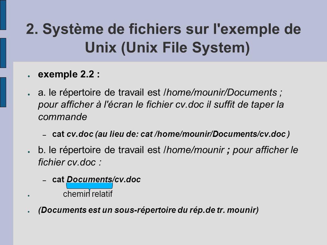 2. Système de fichiers sur l'exemple de Unix (Unix File System) exemple 2.2 : a. le répertoire de travail est /home/mounir/Documents ; pour afficher à