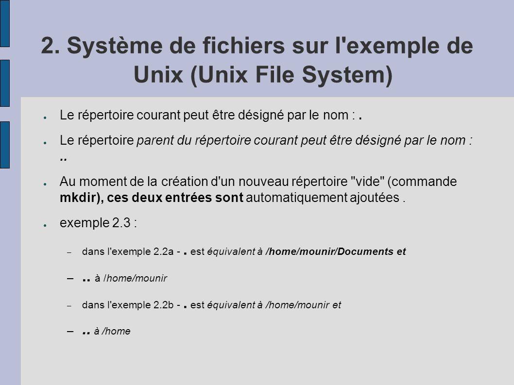 2. Système de fichiers sur l'exemple de Unix (Unix File System) Le répertoire courant peut être désigné par le nom :. Le répertoire parent du répertoi