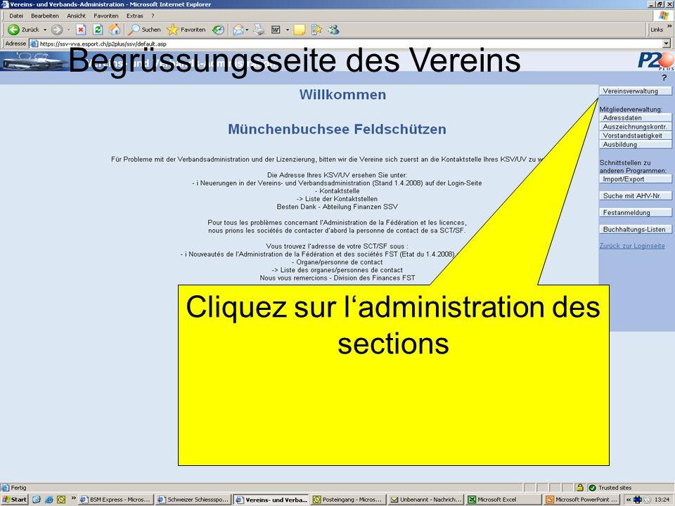 Begrüssungsseite des Vereins Cliquez sur ladministration des sections