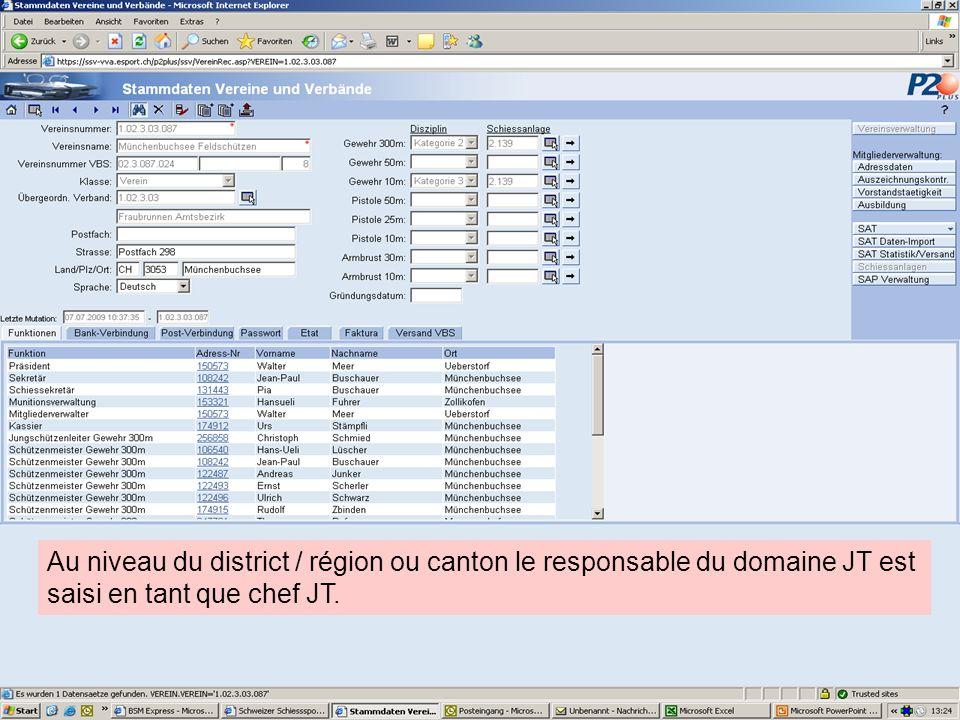 Au niveau du district / région ou canton le responsable du domaine JT est saisi en tant que chef JT.