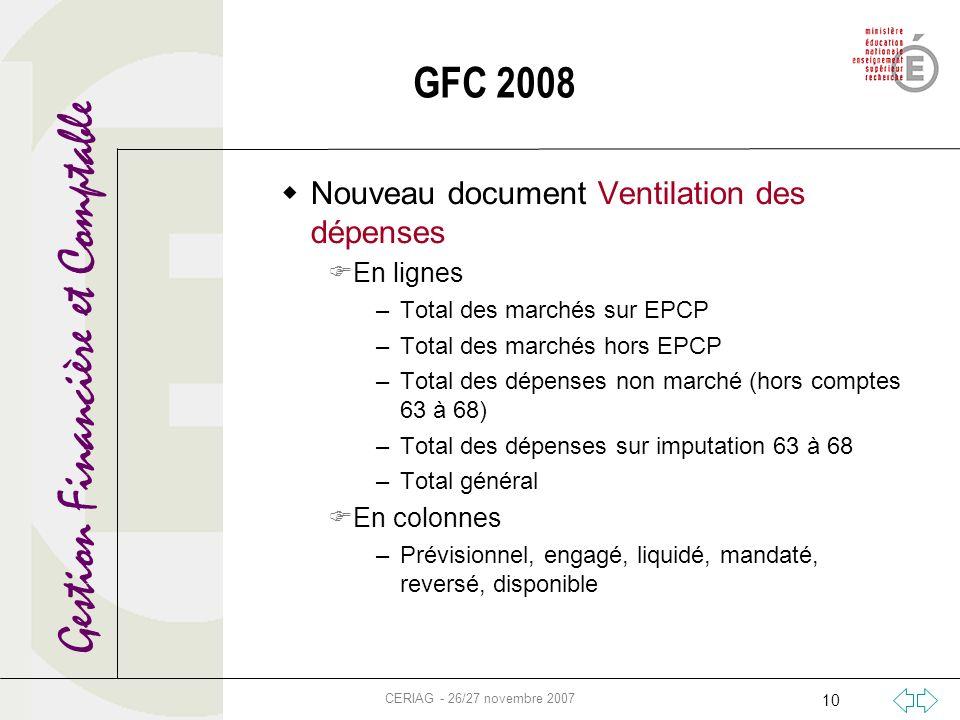 Gestion Financière et Comptable CERIAG - 26/27 novembre 2007 10 GFC 2008 Nouveau document Ventilation des dépenses En lignes –Total des marchés sur EP