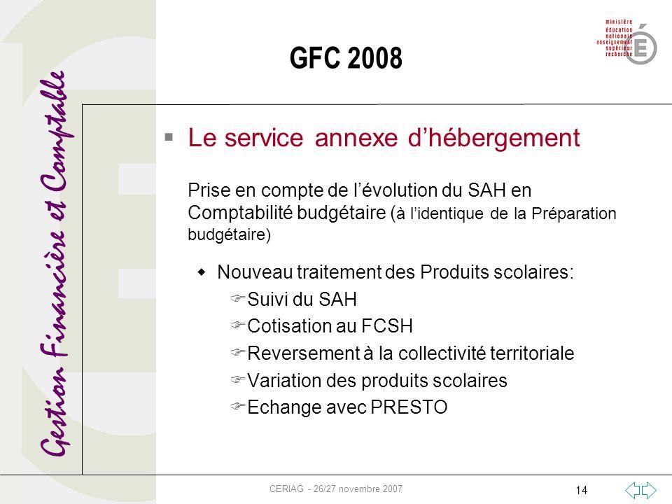 Gestion Financière et Comptable CERIAG - 26/27 novembre 2007 14 GFC 2008 Le service annexe dhébergement Prise en compte de lévolution du SAH en Compta