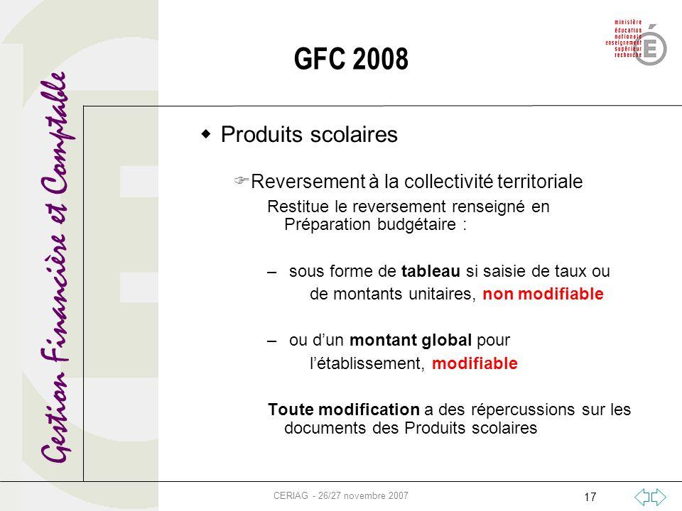Gestion Financière et Comptable CERIAG - 26/27 novembre 2007 17 GFC 2008 Produits scolaires Reversement à la collectivité territoriale Restitue le rev