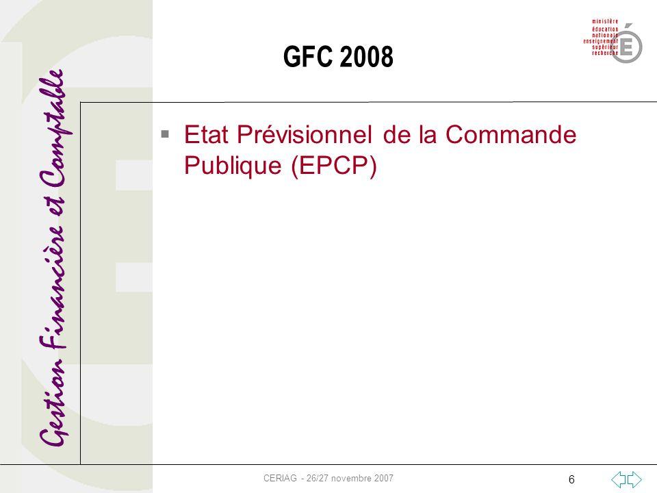 Gestion Financière et Comptable CERIAG - 26/27 novembre 2007 6 GFC 2008 Etat Prévisionnel de la Commande Publique (EPCP)