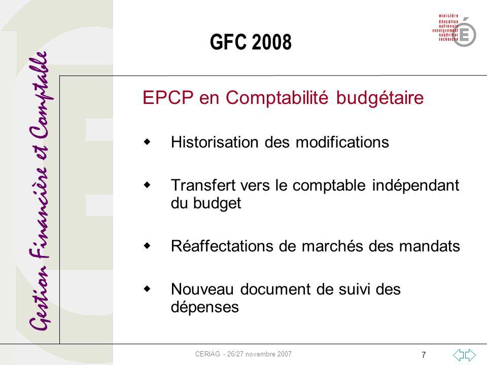 Gestion Financière et Comptable CERIAG - 26/27 novembre 2007 7 EPCP en Comptabilité budgétaire Historisation des modifications Transfert vers le compt