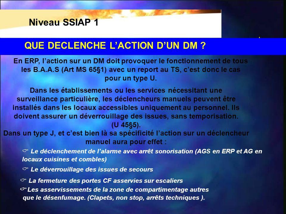 QUE DECLENCHE LACTION DUN DM ? Niveau SSIAP 1 En ERP, laction sur un DM doit provoquer le fonctionnement de tous les B.A.A.S (Art MS 65§1) avec un rep