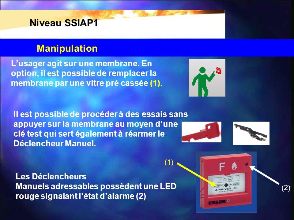Niveau SSIAP1 Lusager agit sur une membrane. En option, il est possible de remplacer la membrane par une vitre pré cassée (1). Il est possible de proc